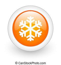 snow orange glossy web icon on white background