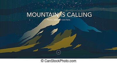 Snow peak and green hills landscape. Mountain is calling.