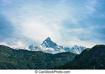 Snow peak Nupts height of 7855 meters, Nepal. - Snow peak...