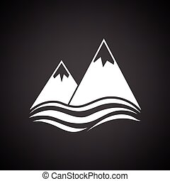 Snow peaks cliff on sea icon. Black background with white....
