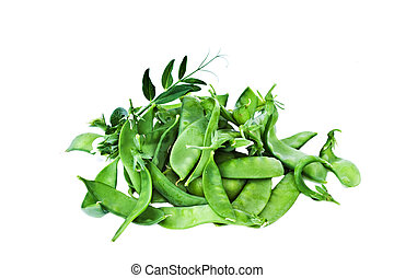 Snow peas with vine on a white background