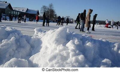 snow people skate winter
