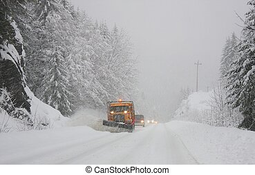 Dangerous winter driving. Vancouver Island, BC, Canada