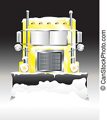 Snow plough at night - A vector illustration of a snow...