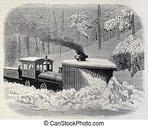 Snow plough locomotive - Old illustration of a snow plough...