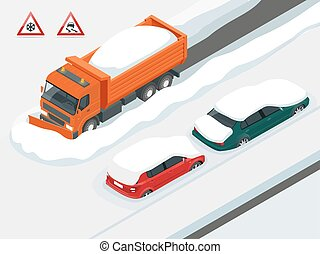 Snow plough truck clearing road after white-out winter snowstorm blizzard for vehicle access. Cars covered in snow on a road during snowfall. Can be used for advertisement, infographics, game.