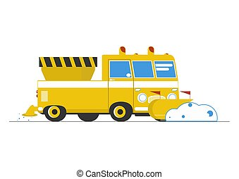 Snow plow. A simplified cartoon snow plow. Side view. Flat ...