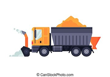 Snow Plow Blower Truck, Winter Snow Removal Machine, Heavy Professional Cleaning Road Vehicle Vector Illustration