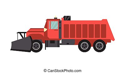 Snow plow machine for cleaning roads flat vector illustration isolated.