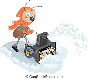 snow-plow., neve, lançador, doméstico