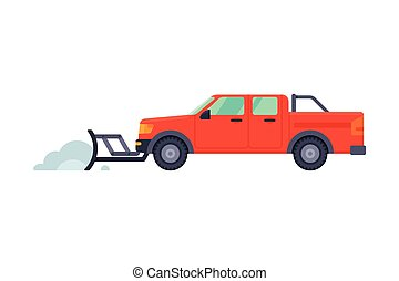 Snow Plow Pick Up Truck, Winter Snow Removal Machine, Cleaning Road Vehicle Vector Illustration