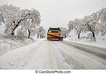 snow plow removes snow - snow plow during maintenance road ...