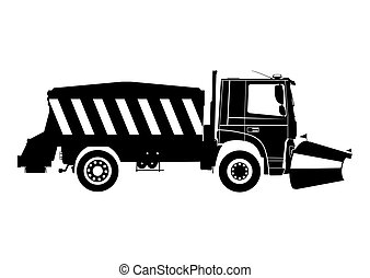 Snow plow. Silhouette of snow plough on a white background. ...