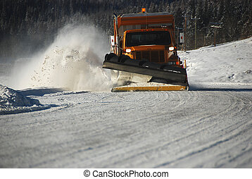 snow plow - snowplow on the highway