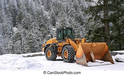 snow plow - Snowplow ready to act on Mount Tourmalet, France