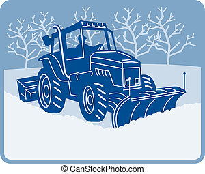 Snow plow tractor plowing winter scene - illustration of a...