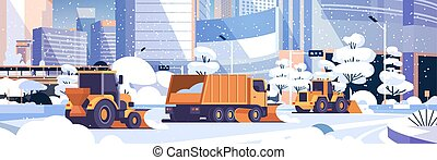 snow plow truck and tractors cleaning snowy road winter street snow removal concept modern city buildings cityscape background flat horizontal vector illustration