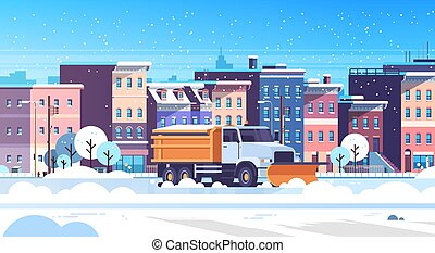 snow plow truck cleaning urban snowy road winter street snow removal concept modern city buildings cityscape background flat horizontal