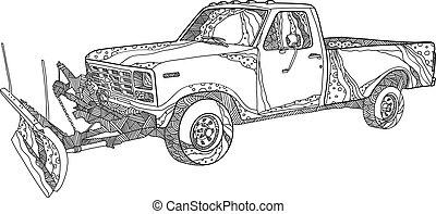 Snow-plow-truck-DOODLE - Doodle art illustration of a snow...