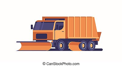snow plow truck icon professional cleaning road vehicle winter snow removal concept flat horizontal