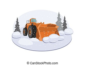 Snow plow truck or snowblower vehicle, flat vector illustration isolated.