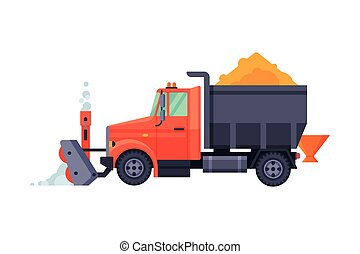 Snow Plow Truck, Winter Snow Removal Machine, Professional Cleaning Road Vehicle Vector Illustration
