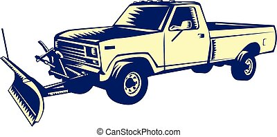 Illustration of a snow plow truck set on isolated white background done in retro woodcut style.