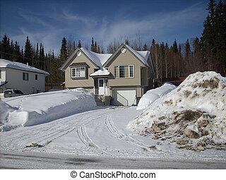 Snow plowed drive way