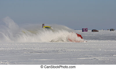 Snow Plowing - Snow plowing on a frozen lake