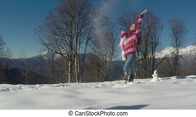snow., powolny, młody, ruch, macierz, niemowlę, interpretacja, szczęśliwy