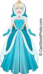 Snow Princess In Blue Dress Cloak And Hood - Vector...