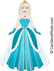 Snow Princess In Blue Dress Front - Vector illustration of a...