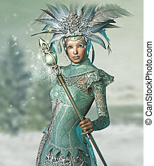 a snow queen with a lace dress and magic wand