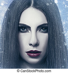 Snow Queen, grungy female portrait with snowfall as background