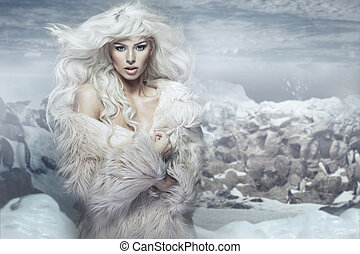 Snow queen on the penguins island
