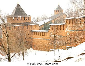 Snow rain in november Kremlin Nizhny Novgorod Russia
