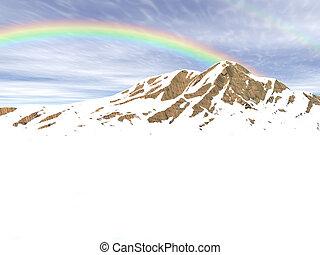 snow rainbow - snowy rocky mountain with blue sky and ...