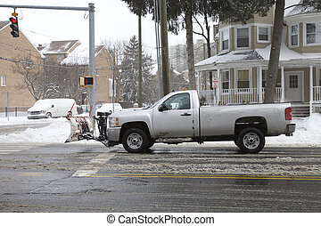Snow removal clearing roads in Connecticut, Winter storm