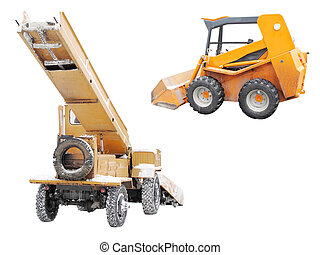 snow removal machine and tractor