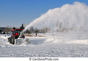 Snow removal on a frozen lake