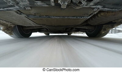 Snow road driving, camera mounted under the car
