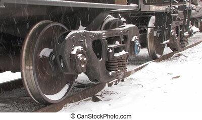 snow., roues, train, fret