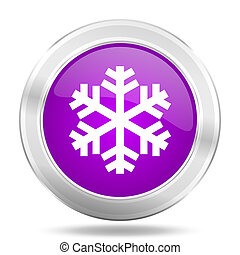 snow round glossy pink silver metallic icon, modern design web element