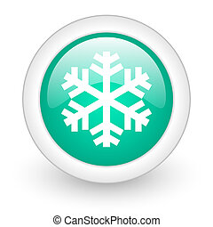 snow round glossy web icon on white background
