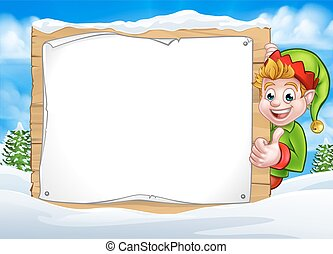 Snow Scene Landscape Christmas Elf Sign
