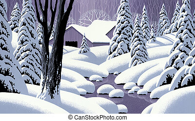 Snow Scene with Barn - Image from an original painting by...