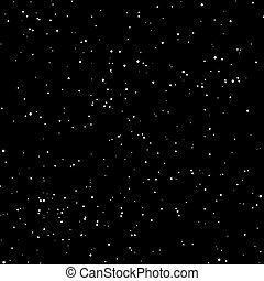 Snow Seamless Pattern, White stars dotes isolated on black background.