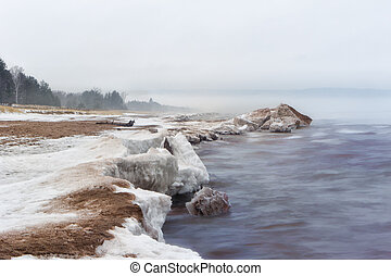 Snow Shore at Minnesota Point, Lake Superior