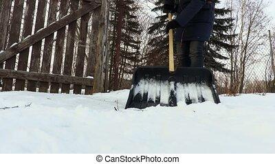 Snow shovel close up on snow