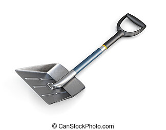 Snow shovel isolated on white background. 3d image.